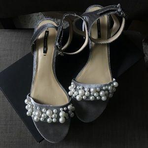 Zara velvet pearl encrusted block heel sandal